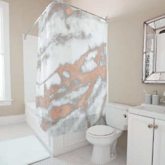 Marble Stone Abstract White Gray Rose Gold Copper Shower Curtain