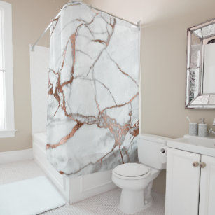 Marble Stone Abstract White Grey Copper Rose Gold Shower Curtain