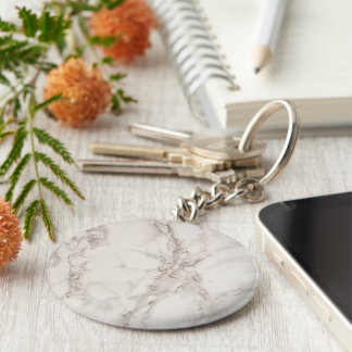 Marble Stone Basic Button Keychain