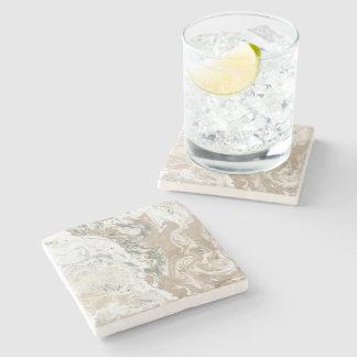 Marble Stone Bright Carrara Beige Ivory Cream Gray Stone Coaster