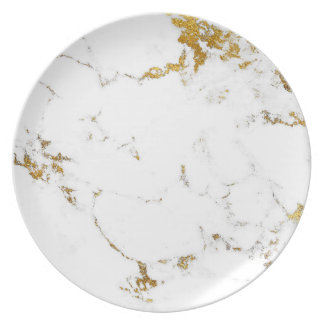 Marble Stone Bright Carrara White Gold Lux Plate