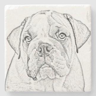 Marble Stone Coaster - English Bulldog