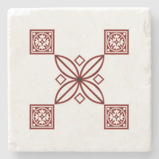 Marble Stone Coaster with Red Print Design