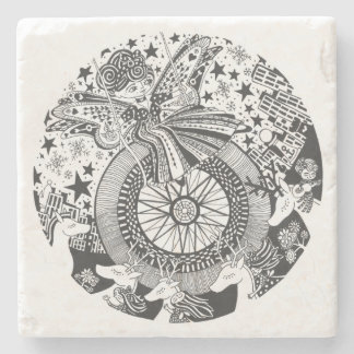 Marble Stone Drink Coaster | Rockabilly Carousel