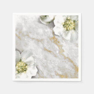 Marble Stone Floral Gray White Gold Glitter Disposable Napkin