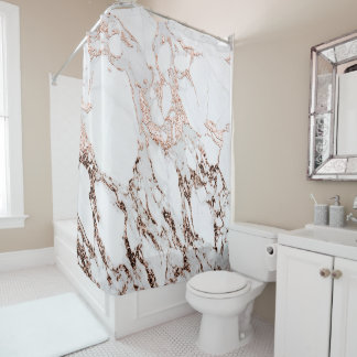 Marble Stone Metallic Copper  White Carrara Gray Shower Curtain