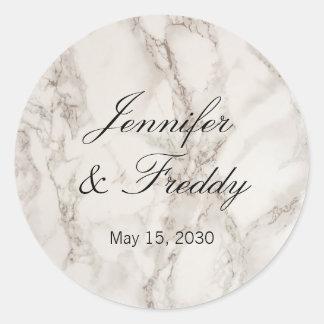 Marble Stone Wedding Round Sticker