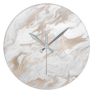 Marble Stone White Gold Beige Ivory Cream Gray Large Clock