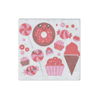 Marble stone with Donuts / red Stone Magnet