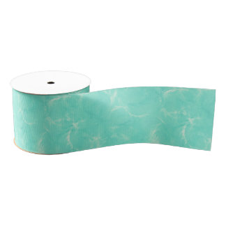 Marble swirl print - aqua blue grosgrain ribbon