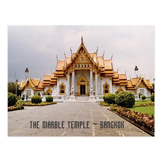 Marble Temple of Gold over Khmer Lion Bangkok Card Postcard