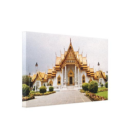 Marble Temple of Gold over Khmer Lion Canvas Print