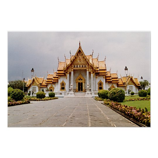 Marble Temple of Gold over Khmer Lion Poster