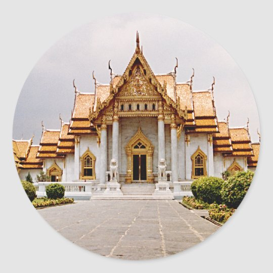 Marble Temple of Gold over Khmer Lion Sticker Tag