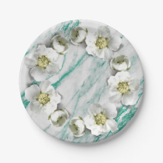 Marble Tiffany Emerald Floral Wreath Glitter 7 Inch Paper Plate