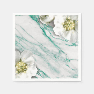 Marble Tiffany Emerald White Jasmine Glitter Disposable Serviette
