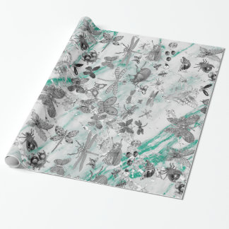 Marble Tiffany Gray Meadow Butterfly Insects Gems Wrapping Paper