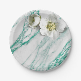 Marble Tiffany Mint Emerald White Jasmine Glitter 7 Inch Paper Plate