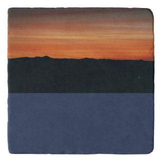 Marble Trivet with Mountain Sunset Scene