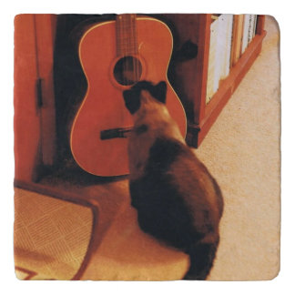 Marble Trivet with Siamese Cat and Guitar