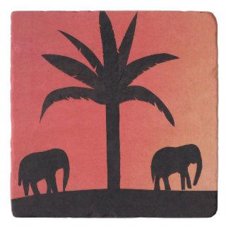 Marble Trivet with Sunset Elephant Scene