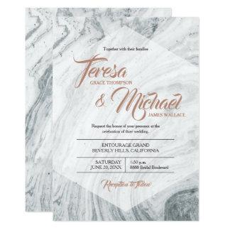 Marble Wedding invitation, Faux Rosegold, Polygon Card