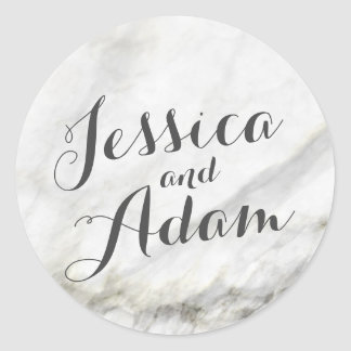 Marble Wedding Round Sticker