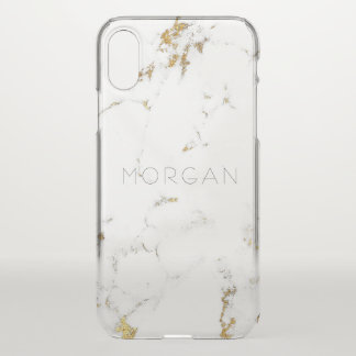 Marble White Abstract Italian Minimalism Name iPhone X Case