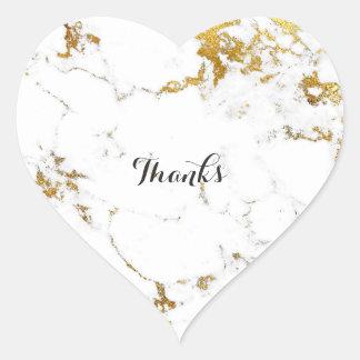 Marble White Carrara Stone Gold Simply Heart Heart Sticker