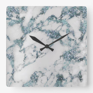 Marble White Gray Aquatic Blue Crystals Sapphire Square Wall Clock