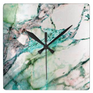 Marble White Gray Emerald Green Graphite Carrara Square Wall Clock