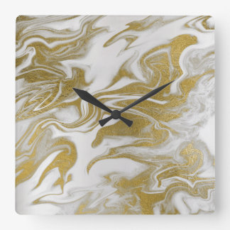 Marble White Gray Gold Abstract Minimal Square Wall Clock
