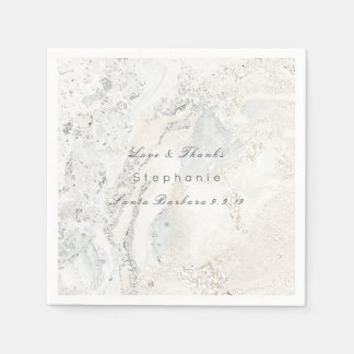 Marble White Gray Minimalism Bridal Wedding Disposable Serviette