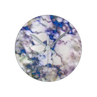 Marble White Gray Saphire Graphite Carrara Round Clock