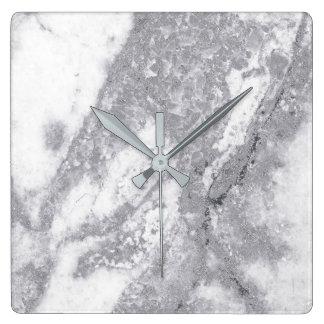 Marble White Gray Silver Metallic Blush Carrara Square Wall Clock
