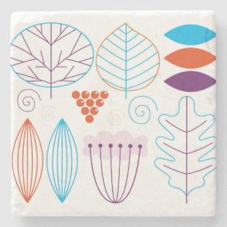Marble with folk flowers Drawing Stone Beverage Coaster