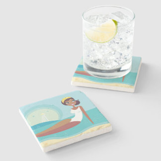 Marble with vintage girl Art Stone Coaster
