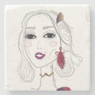 Marble with vintage Girl Stone Coaster