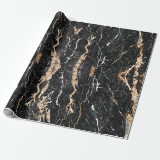 Marble wrapping paper, Black Gold marble gift wrap