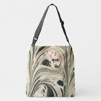 Marbled Abstract Design | Peach Green Crossbody Bag