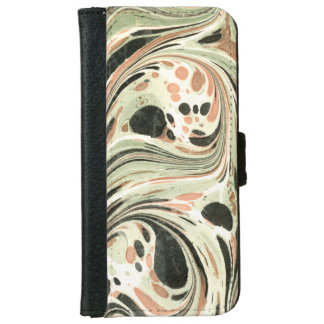 Marbled Abstract Design   Peach Green iPhone 6 Wallet Case