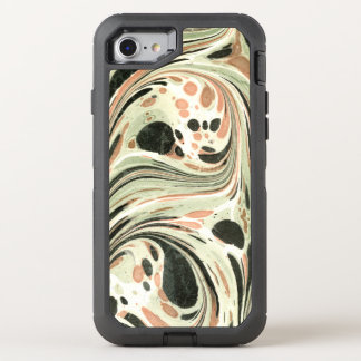 Marbled Abstract Design | Peach Green OtterBox Defender iPhone 7 Case