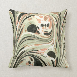 Marbled Abstract Design | Peach Green Throw Pillow