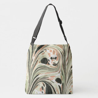 Marbled Abstract Design | Peach Green Tote Bag