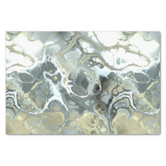 Marbled Abstract in Blue, White and Beige Tissue Paper