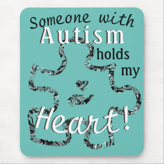 Marbled Autism Puzzle Piece with Text Mouse Pad
