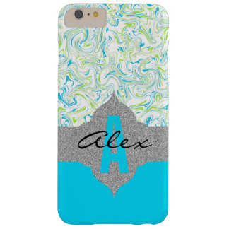 Marbled Blue & Green with Transparent Background Barely There iPhone 6 Plus Case