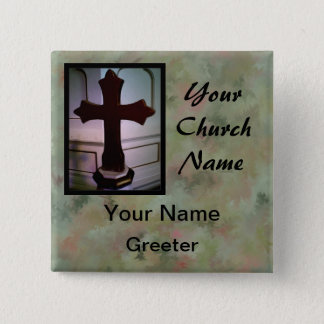 Marbled Church Greeter Nametags with Cross 15 Cm Square Badge