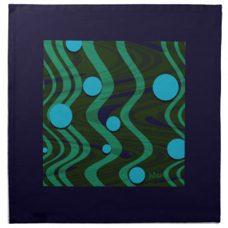 Marbled Dot Wave Blue Green Napkin