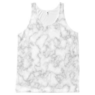 Marbled Gray White Marble Stone Pattern Background All-Over Print Singlet